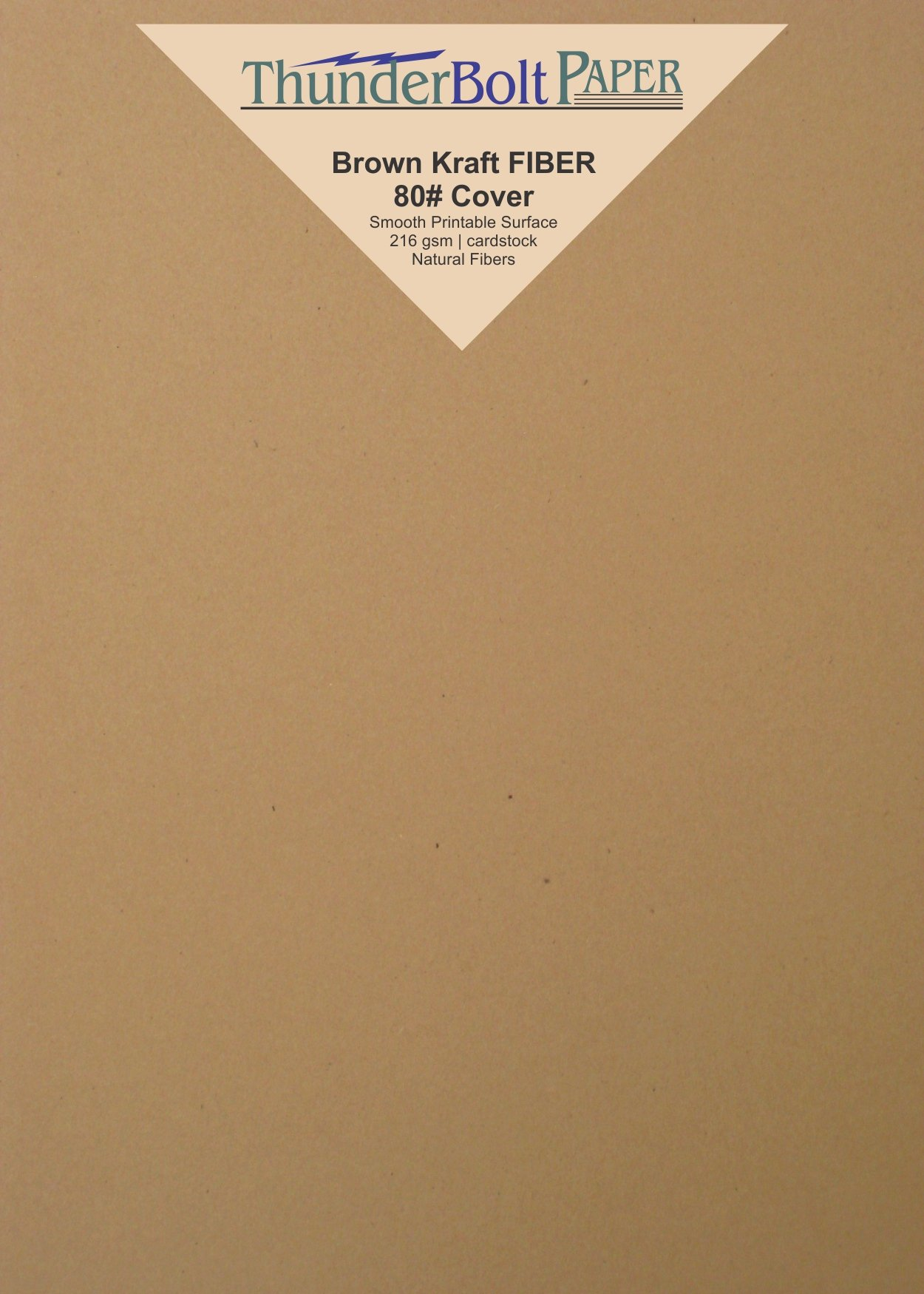 50 Brown Kraft Fiber 80# Cover Paper Sheets - 5'' X 7'' (5X7 Inches) Photo Card Frame Size - Rich Earthy Color with Natural Fibers - 80lb/pound Cardstock - Smooth Finish