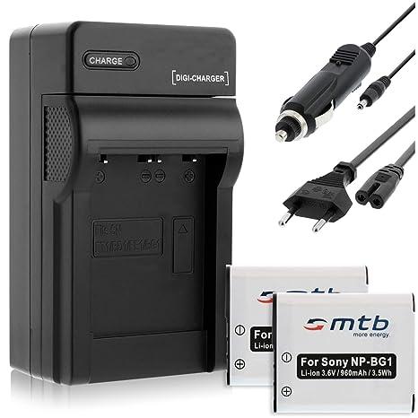 2 Baterìas + Cargador (Coche/Corriente) para Sony NP-BG1 FG1 ...