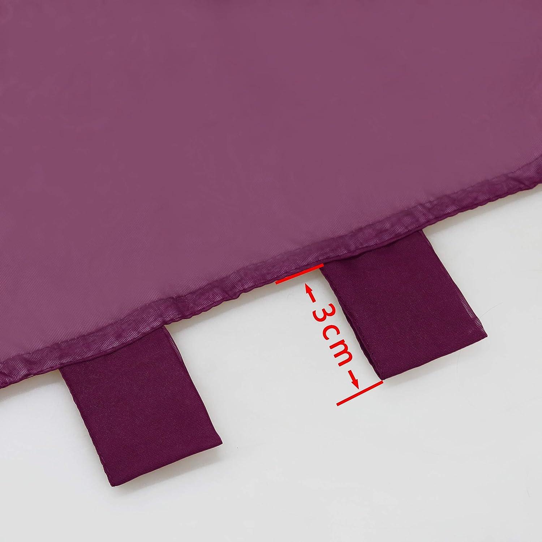 Joyswahl Lydia Lot de 2 voilages de bistro avec gland bicolores Polyester BxH 60x90cm /à double couche avec passants gris//blanc