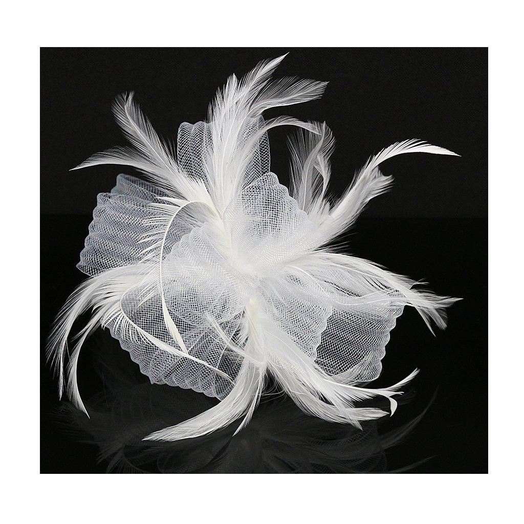 LATIMOON Fascinators Hat Flower Mesh Ribbons Wedding Party Hats Feather Veil Headwear for Women-White