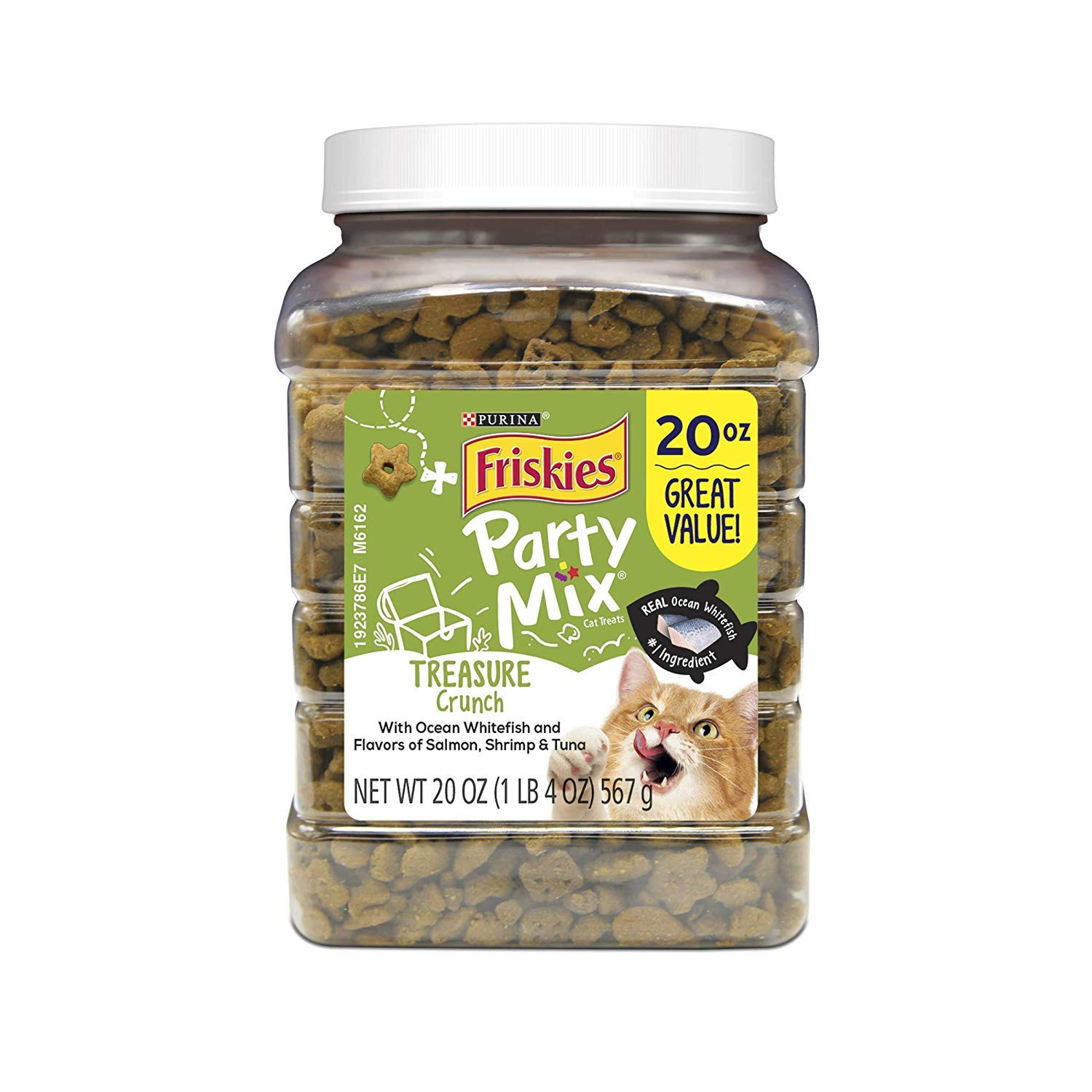 Purina Friskies Party Mix Treasure Island Crunch, Salmon, Shrimp, and Tuna Flavors, 20-Ounce Canister by Purina Friskies