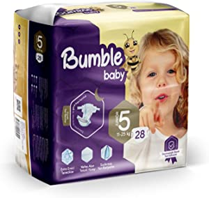 Bumble Baby Diapers, Size 5 11-25KG 28 Counts drip Proof barriers, Textile Surfaces, Absorbing Particles, Ultra-Flexible Side Grip Strips (5)