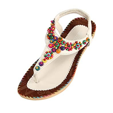 Bohemia Beaded Flip Flops Clip Toe Sandals Slippers Beach Flat Summer Shoes