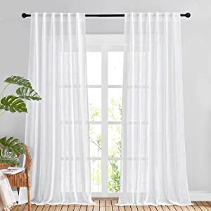 NICETOWN White Sheer Linen Curtains for Living Room, Rod Pocket & Back Tab Sweep to Floor Window Treatments Semi Sheer Drapes Privacy for Patio Door/Hall, 2 Panels, W52 x L95