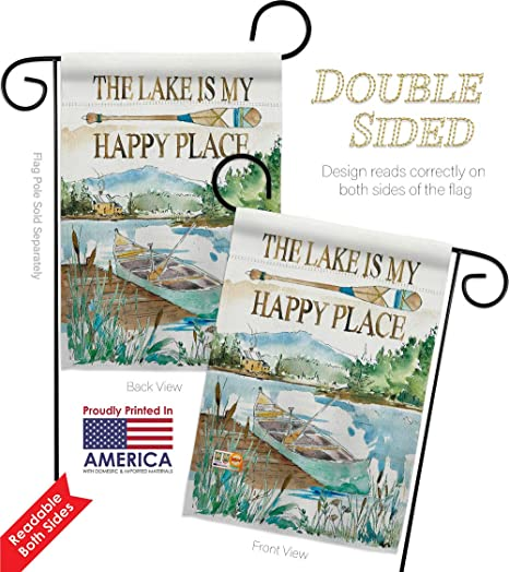 Amazon Com Breeze Decor Lodge Lake Is Happy Place Garden House Flags Kit Outdoor Rustic Cabin Moose Wildlife Adventure Forest Small Decorative Gift Yard Banner Double Sided Made In Usa 28 X 40