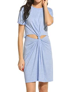ec6ce9c51bc48 Meaneor Women Fashion O-Neck Short Sleeve Knot-Front Hollow Out Solid Dress