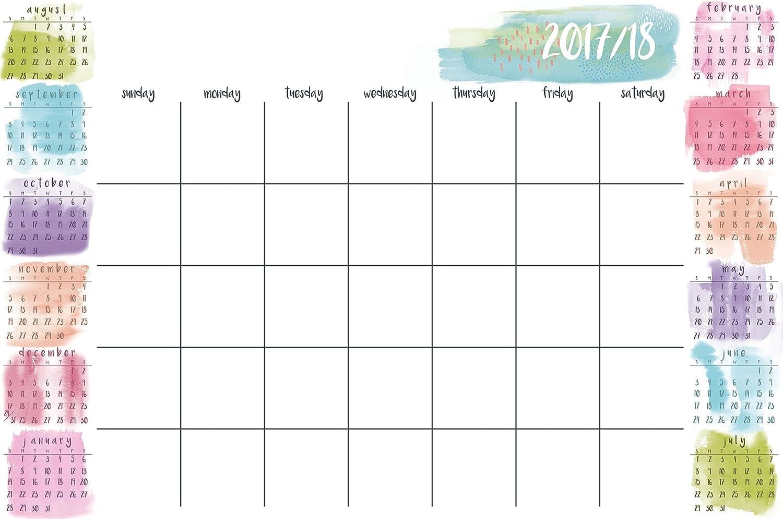 WallPops WPE2288 Splash Academic 2017-18 Calendar, Multicolor