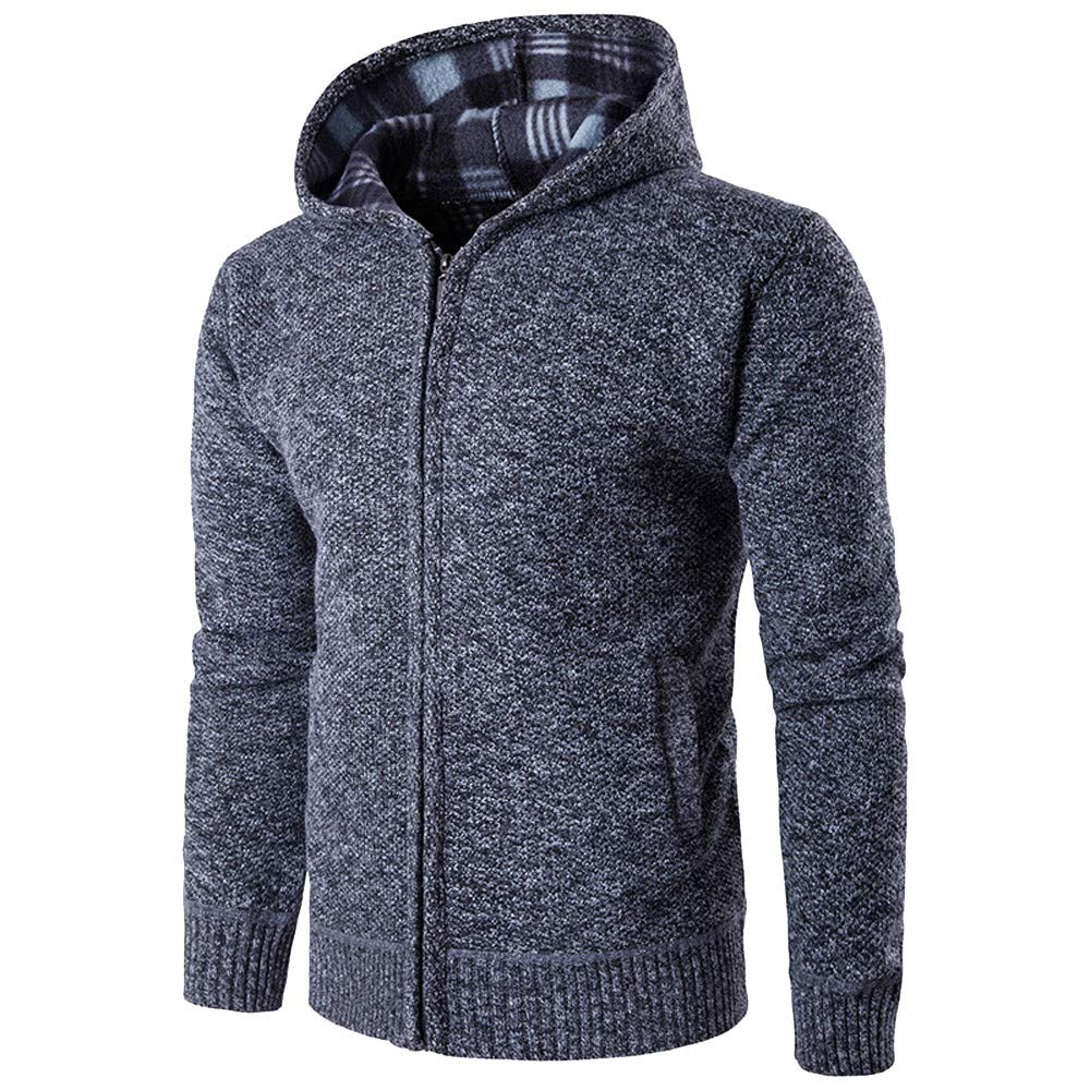 Mens' Autumn Winter Long Sleeve Casual Hoodie Pullover Fleece Outwear Tops PASATO New Hot!(Dark, Gray)