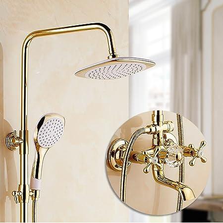 LJ Juego de ducha de chapa dorada con estilo europeo Llave de cobre completo Llave de ducha retro de mano (Tamaño : D): Amazon.es: Hogar