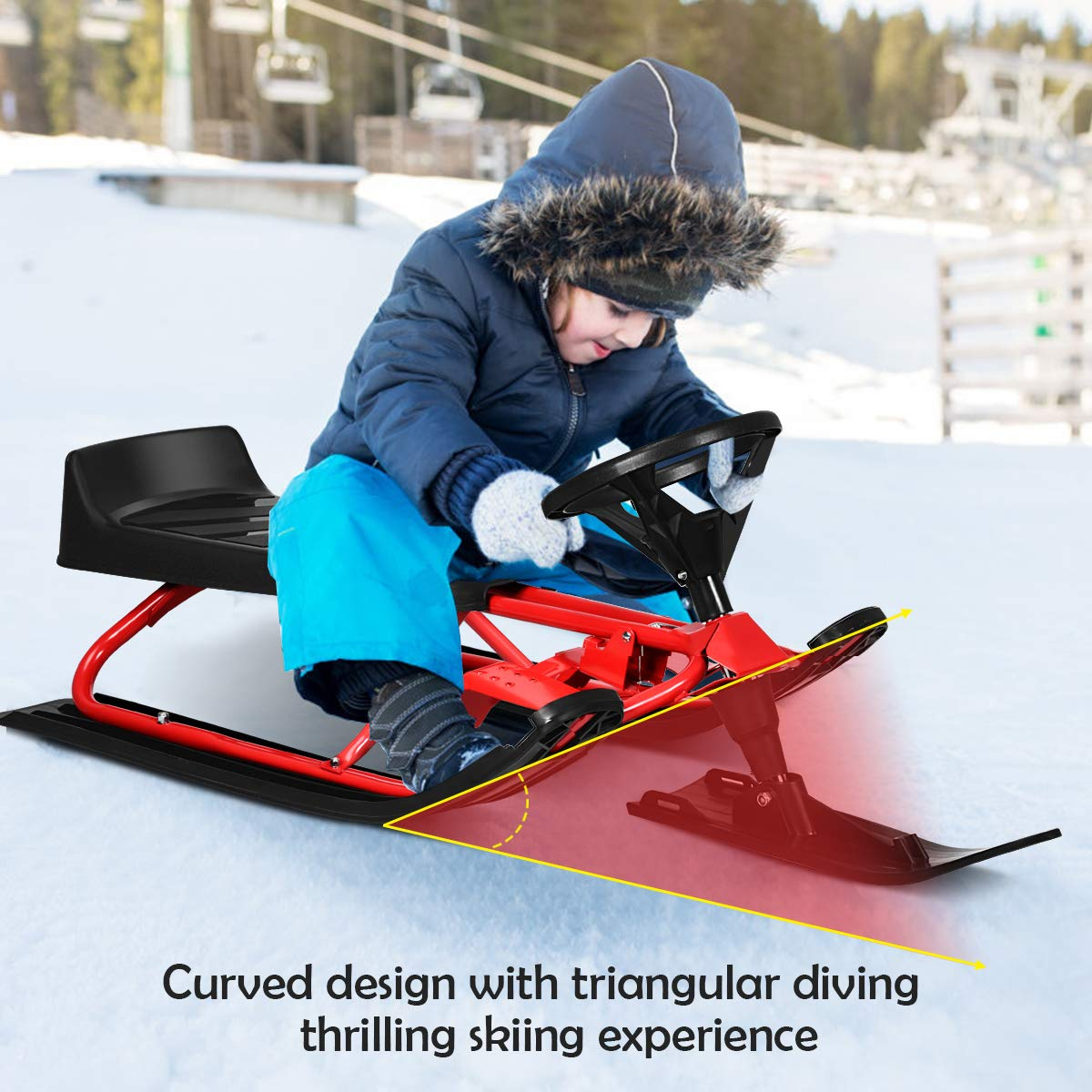 """Goplus Snow Racer Sled 55/"""" Ski Sled Slider Board with Steering Wheel Twin Brakes Retractable Pull Rope Holds Two Children//a Teenager//an Adult for Kids Age 4 /& up"""