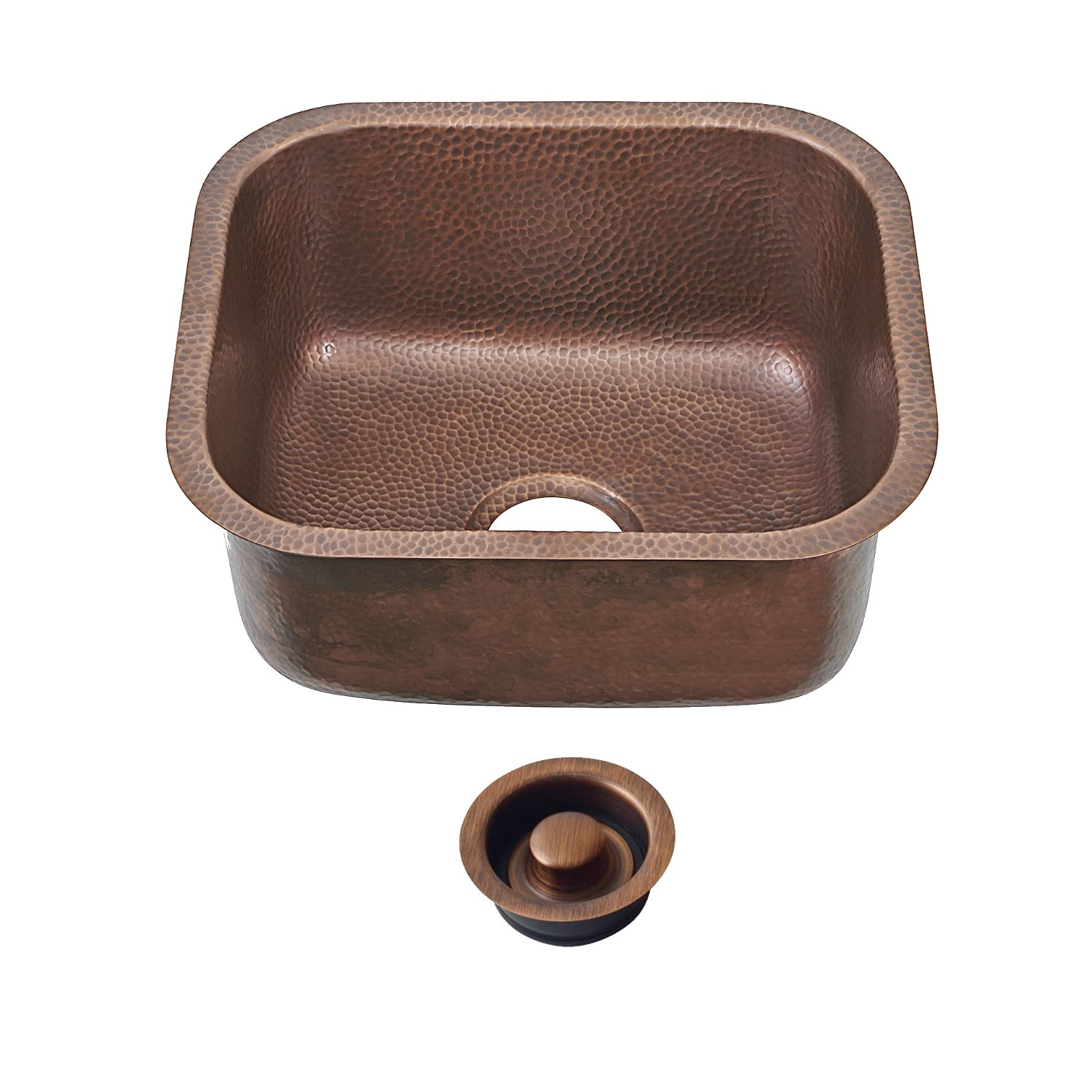 Sinkology SP503-18AC-AMZ-D Sisley Pro Undermount Bar Prep 18.5'' Sink Kit With Disposal Flange, 18.5'' x 16.5'' x 9'', Antique Copper