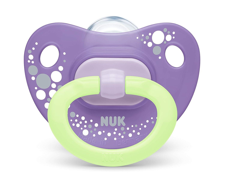 2 St/ück mit Schnullerbox 0-6 Monate Blau NUK Happy Nights Schnuller mit Leuchteffekt Silikon