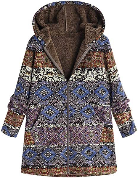 Womens Retro Winter Printed Floral Down Cotton Padded Hood Long Jacket Warm Coat