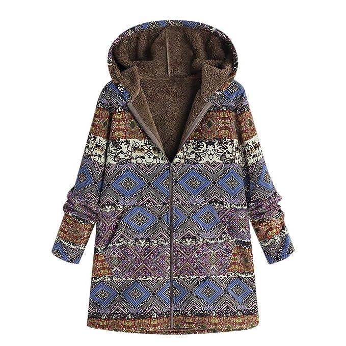 Linlink Mujeres Invierno Caliente Outwear impresión Floral Bolsillos con Capucha Vintage Abrigos de Gran tamaño: Amazon.es: Ropa y accesorios