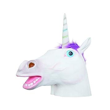 Bristol BM549 - Máscara de unicornio (látex, para hombre, mujer, color blanco