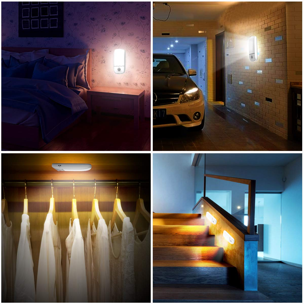 Closet 1Pack Stairs and Balcony with Removable Magnetic Strip Kitchen Stick-on Wardrobe Cold Light and Warm Light Battery Powered 12 LED Night Lights Motion Sensor Light Closet Light