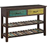 ALI VIRGO Retro Console Table Buffet Sideboard Sofa Desk for Entryway Hallway Bathroom Living Room with Two Drawers and Twin Tiers Shelves, Mix Color