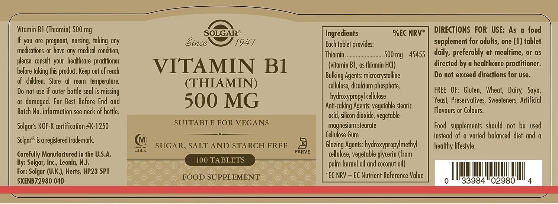 SOLGAR - VIT. B1 500MG. 100COMP. SOLGAR: Amazon.es: Salud y cuidado personal
