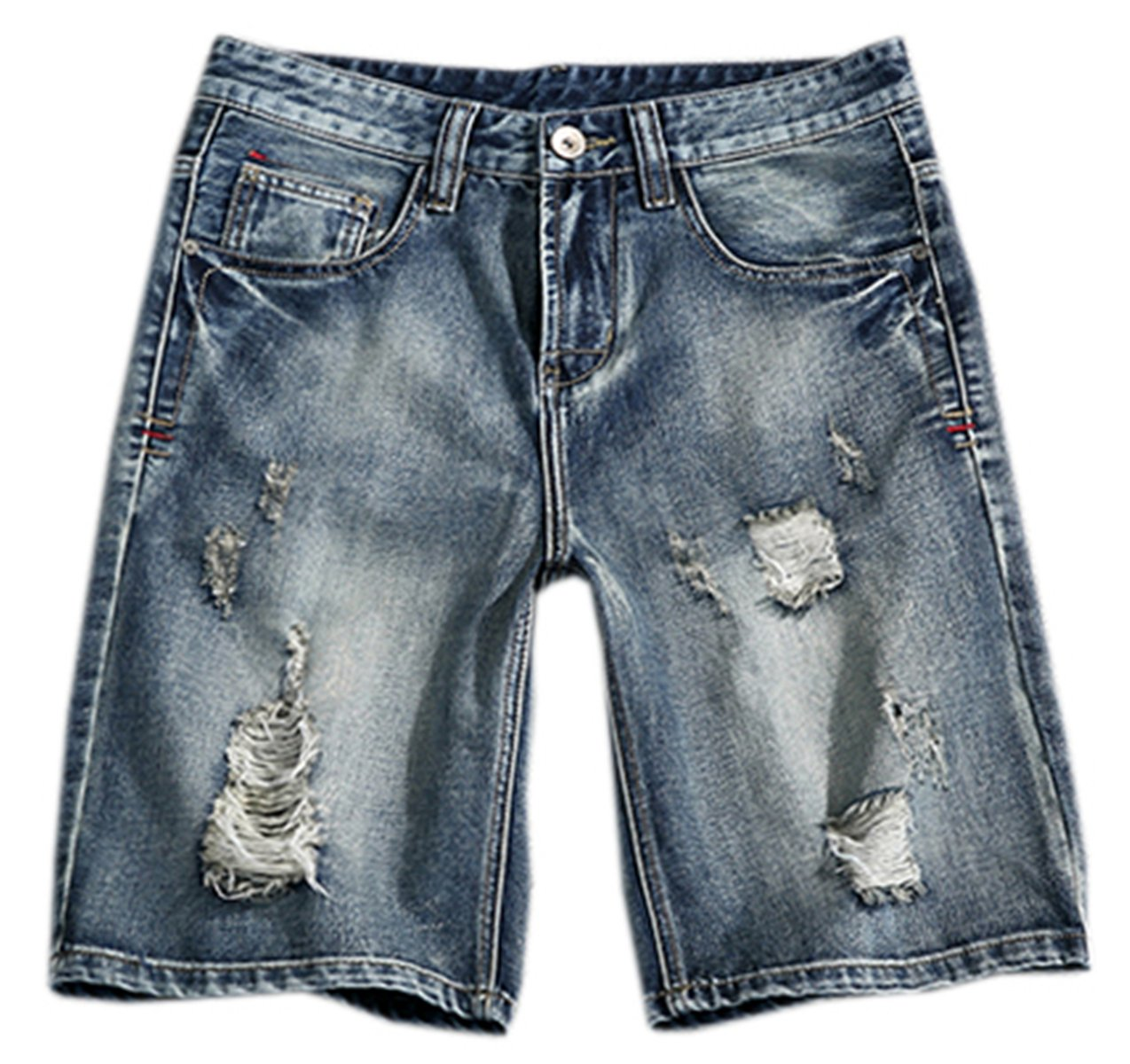 QZH.DUAO Men's Ripped Distressed Slim Straight Fit Washed Denim Jean Shorts with Holes, 2# Blue, Tag Size 3XL = US 40