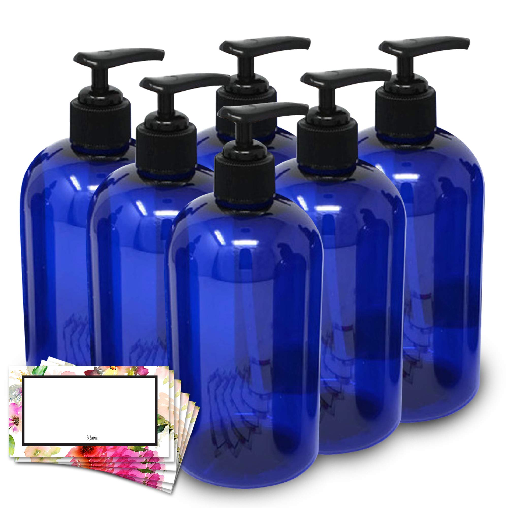 BAIRE BOTTLES - 16 OZ BLUE PLASTIC REFILLABLE BOTTLES with BLACK Pumps - ORGANIZE Soap, Shampoo and Lotion with a Clean, Classy Look - PET, Lightweight, BPA Free - 6 Pack, BONUS 6 FLORAL LABELS
