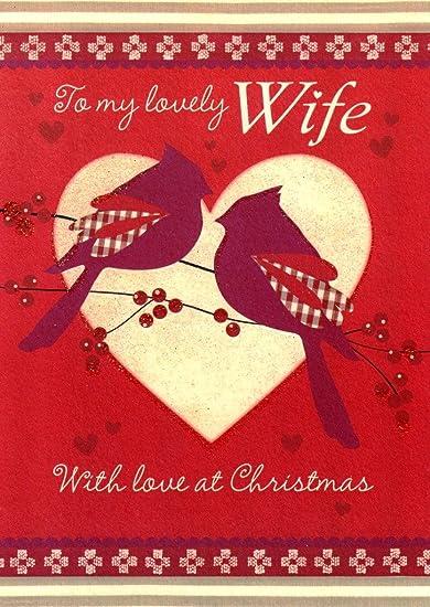 Amazon.com: To My Lovely \' Wife \' Glitter Birds Christmas Cards ...