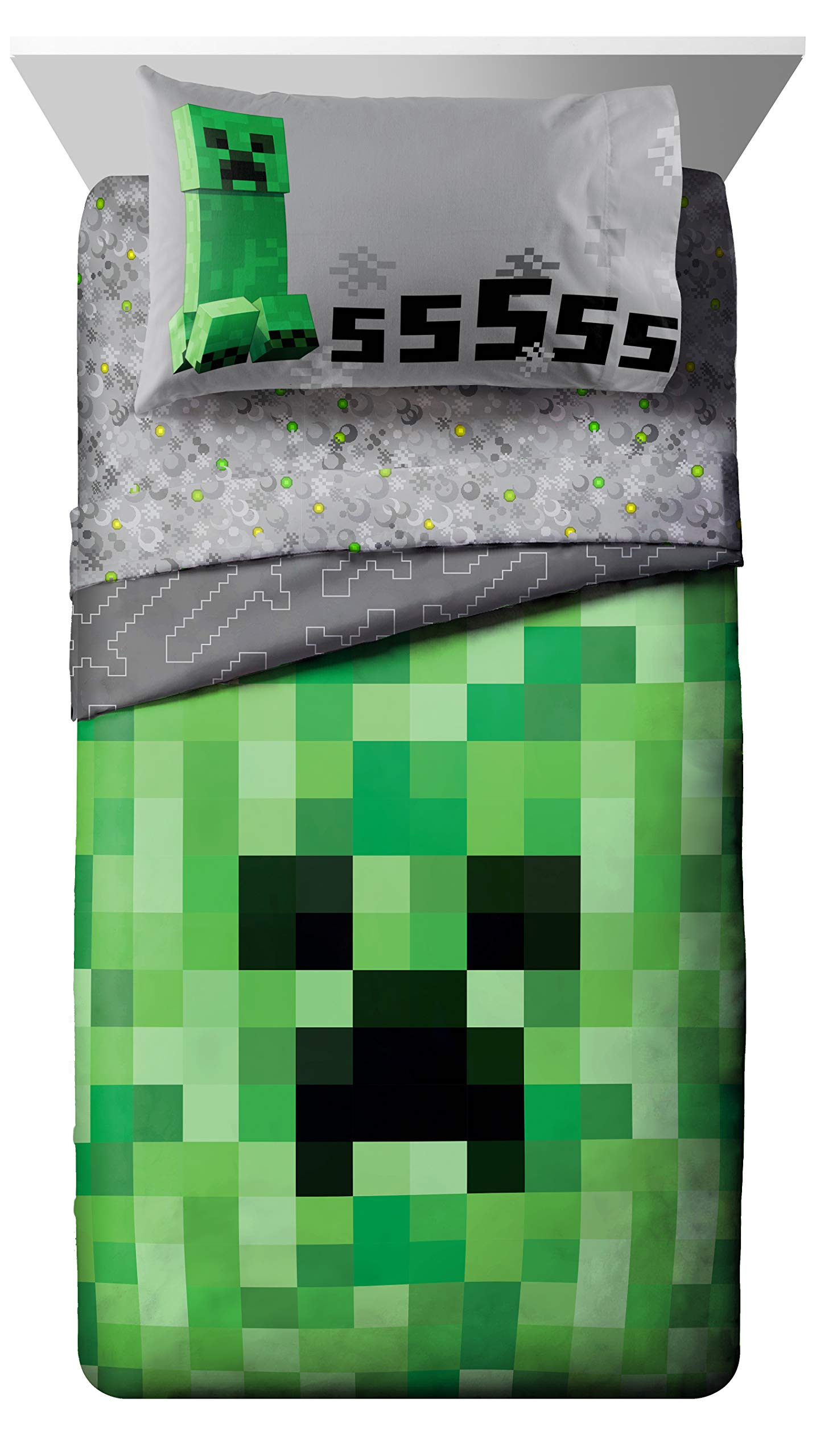 Jay Franco Minecraft Creeper 5 Piece Full Bed Set - Includes Reversible Comforter & Sheet Set - Super Soft Fade Resistant Microfiber - (Official Minecraft Product) by Jay Franco (Image #2)
