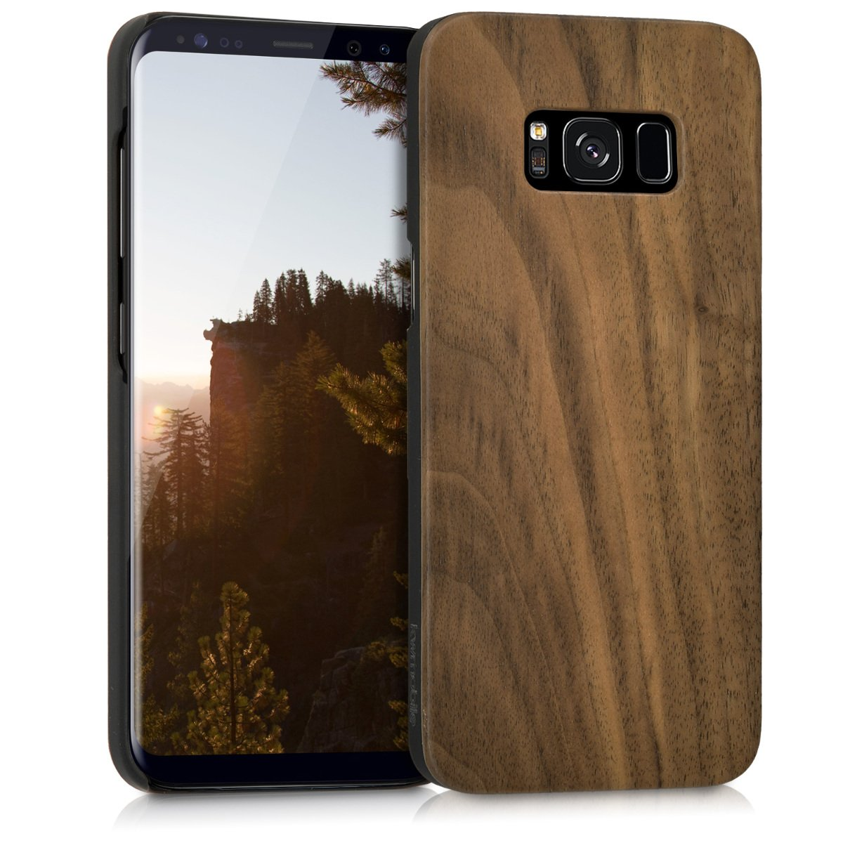 buy online eb2f3 87e4f kwmobile Samsung Galaxy S8 Wood Case - Non-Slip Natural Solid Hard Wooden  Protective Cover for Samsung Galaxy S8