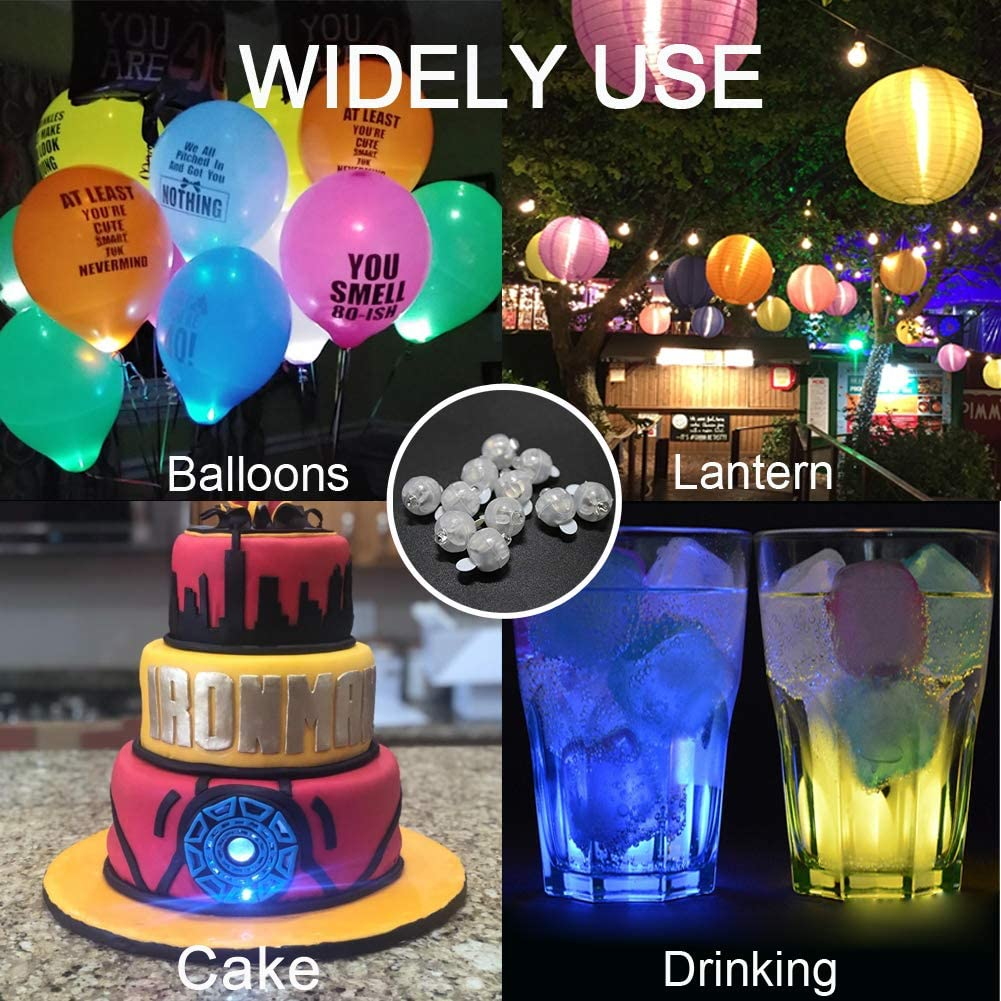 JJGoo Round Mini Balls Led Flash Tiny Led Light for Paper Lantern Balloon Birthday Party Wedding Decoration/… 100pcs Multicolor LED Balloon Lights