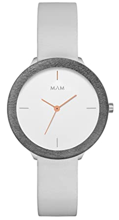 Mam originals Light Maple Grey Womens Analog Japanese Quartz Watch with Synthetic Leather Bracelet 072