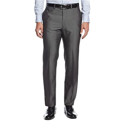 Andrew Fezza Slim Grey Pindot Flat Front New Men's Dress Pants