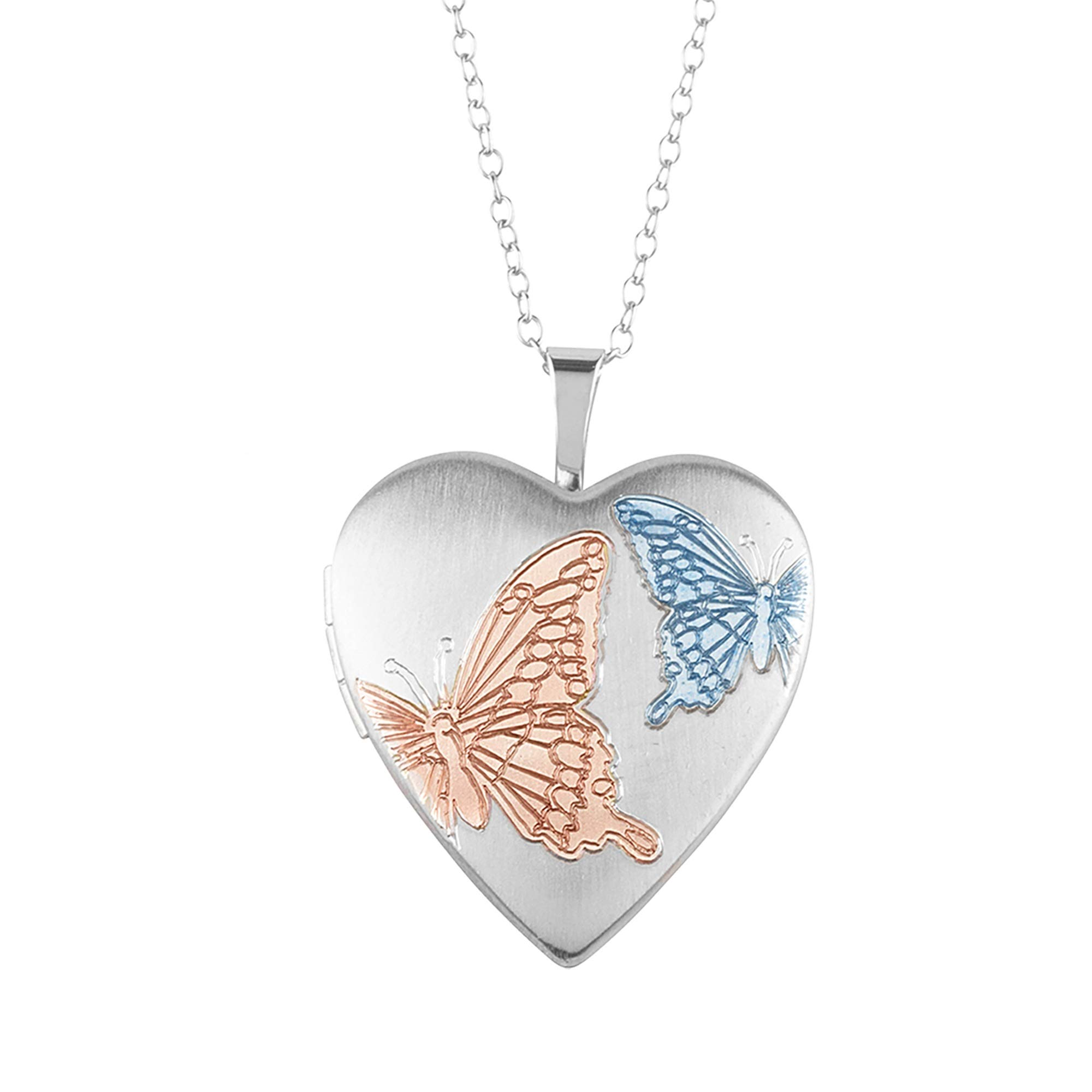 Sterling Silver Heart Shape Fashion Butterfly Locket Pendant with Chain for Women, 20MM by Silver on the Rocks