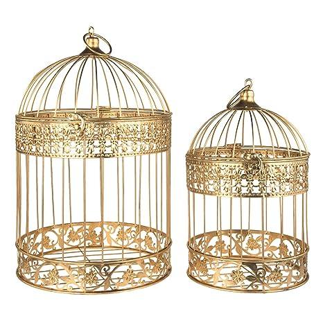 Decorative Metal Bird Cage.Homeford Gold Metal Wedding Bird Cage Centerpiece Large 2 Piece