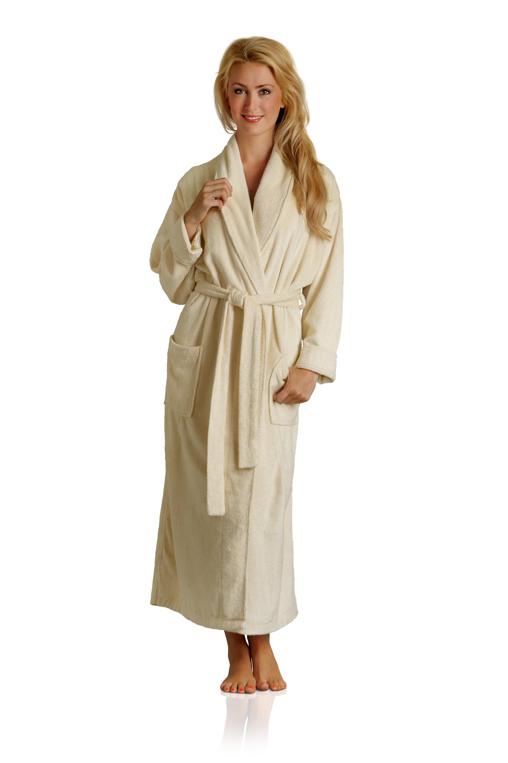 Pure Bliss Terry Robe - Super Absorbent and Soft - Cotton and Rayon from Bamboo in Oatmeal, Medium