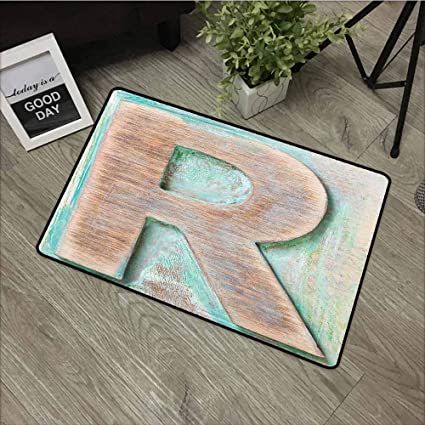 Amazon.com: LOVEEO Rubber Doormat,Letter R Wooden Alphabet ...