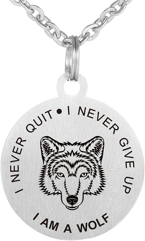 Pendentif /«/Never Give Up Never Quit//» Loup en acier inoxydable Collier Plaque