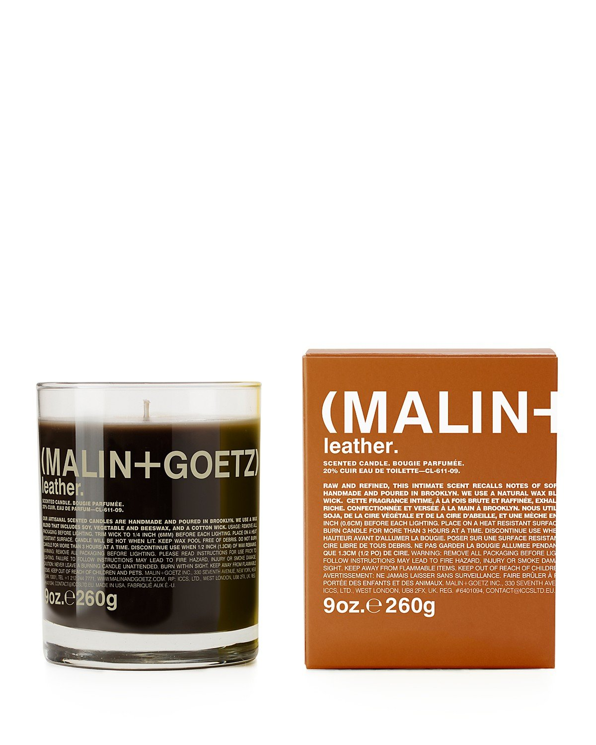 (1) MALIN and GOETZ Leather Candle 9oz