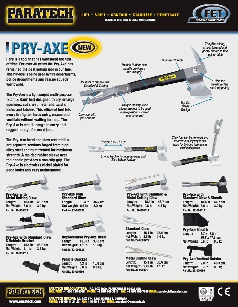 Paratech 22-000520 Pry Axe with Standard Claw