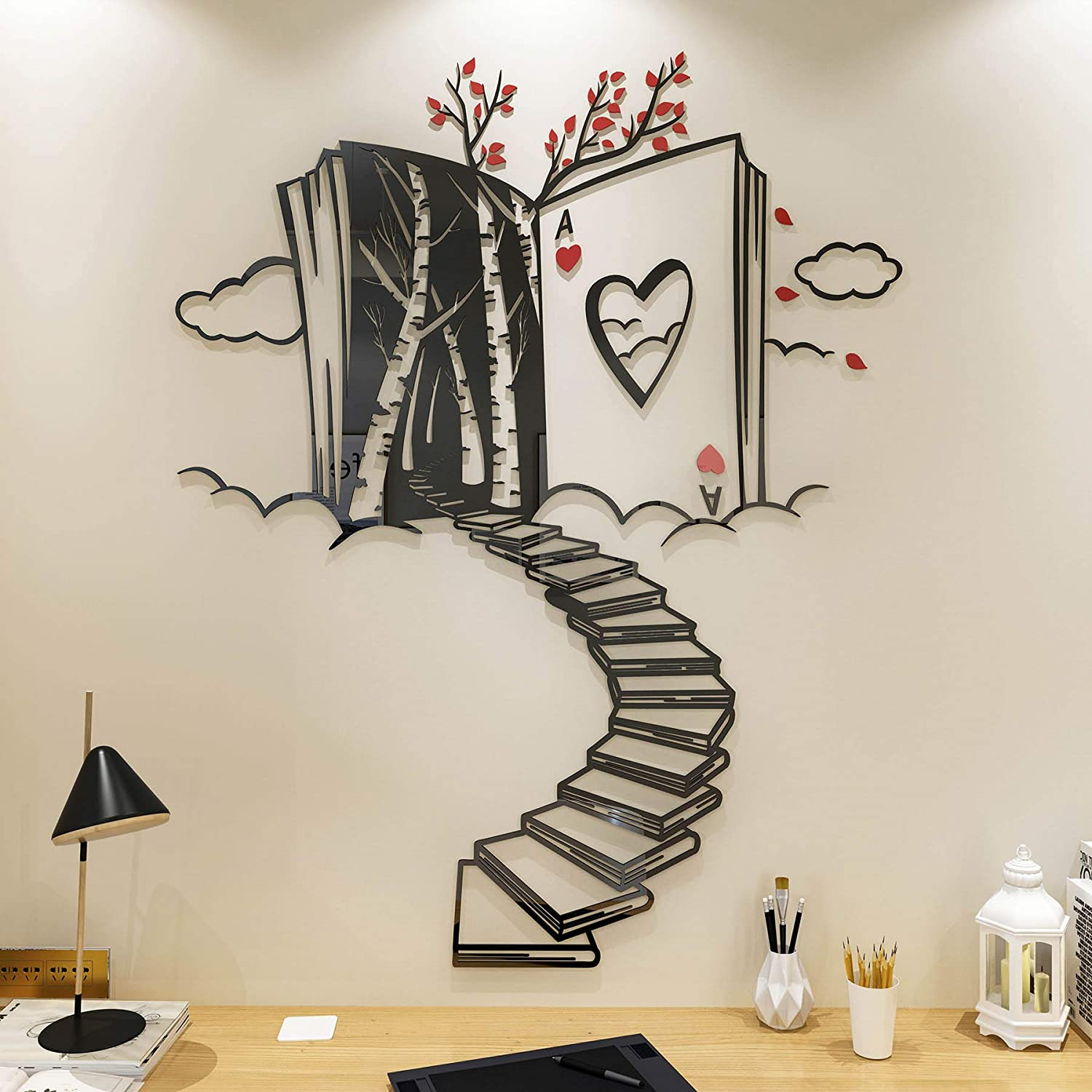 DecorSmart Alice in Wonderland Decorations Wall Decor for Bedroom with Stairs of Books, Trees and Ace of Hearts, Mad Hatters Tea Party Removable DIY Acrylic Wall Stickers Decorations