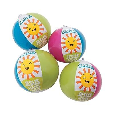 Fun Express Smile Jesus Loves You Mini Beach Balls - Toys - 12 Pieces: Toys & Games