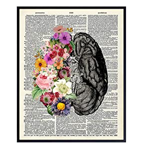 Flower Brain Dictionary Art Print - Vintage Upcycled Wall Art Poster - chic Modern Home Decor for Bedroom, Bathroom, Living Room - A Great Gift for Women and Steampunk Fans - 8x10 Photo - Unframed