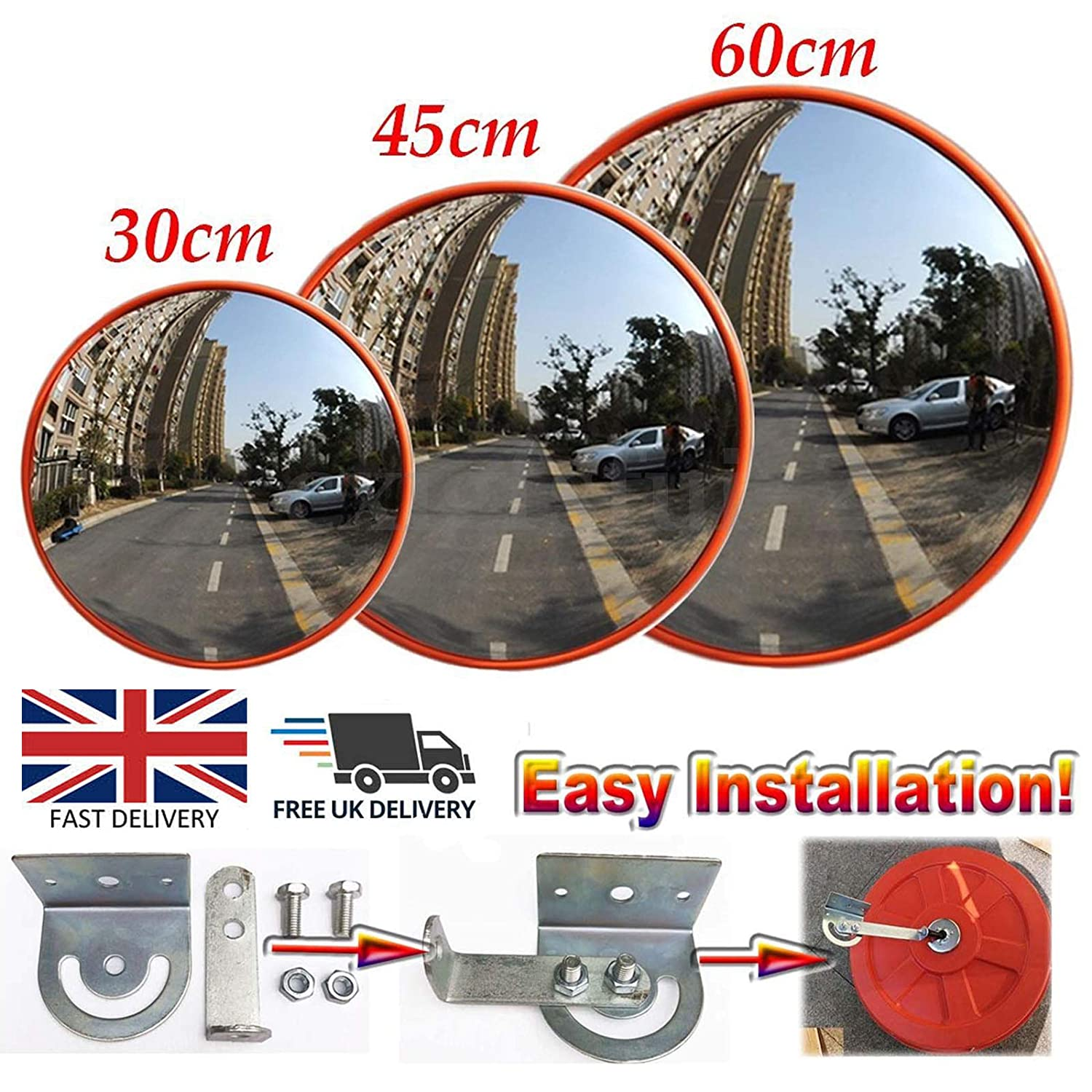 Driveway Traffic Mirror 130 Degree Wide Angle Blind Spot Mirror Convex Security Mirror For Road Safety/Garage/Parking/Shop Security/Home Driveway/Car Park/Hospital/School 30CM