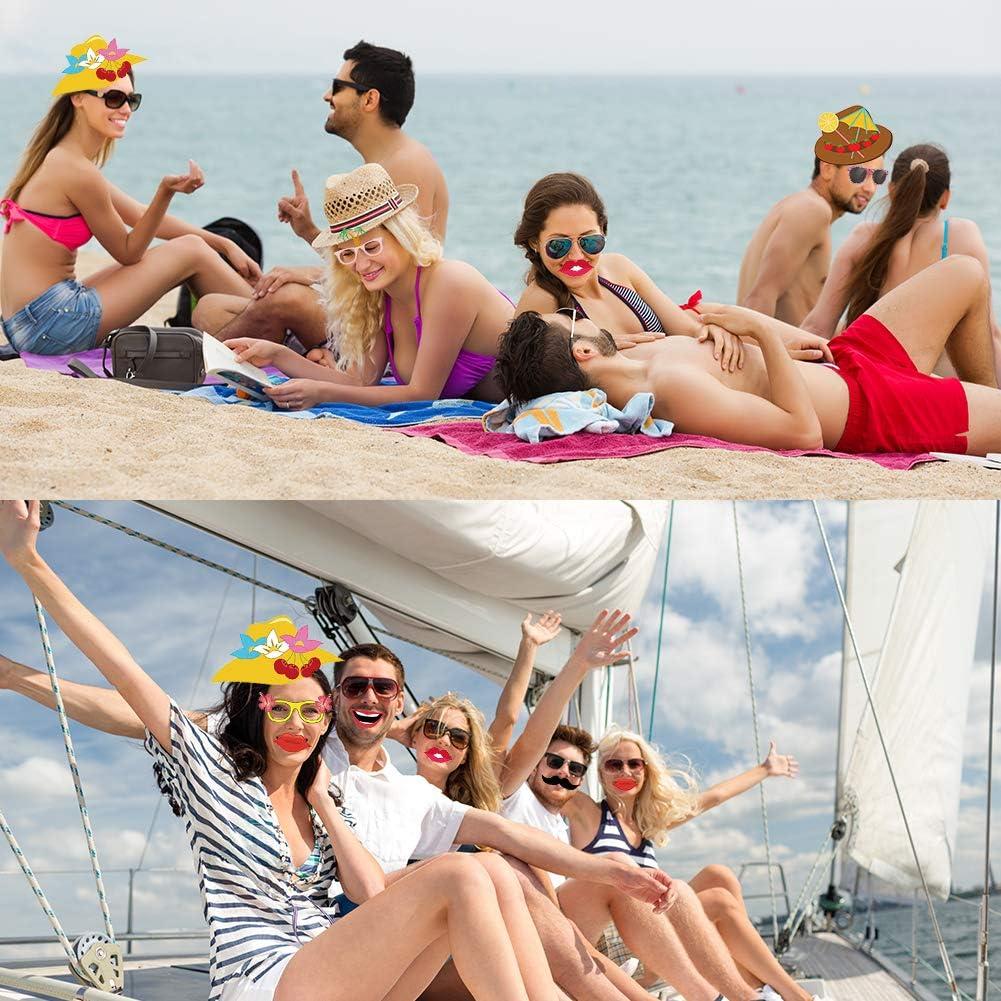 Xiangmall 34 Piezas Accesorios para Fotos Hawaiana Divertido Photo Booth Props Luau Decoraciones para Tropical Playa Piscina Fiestas 34