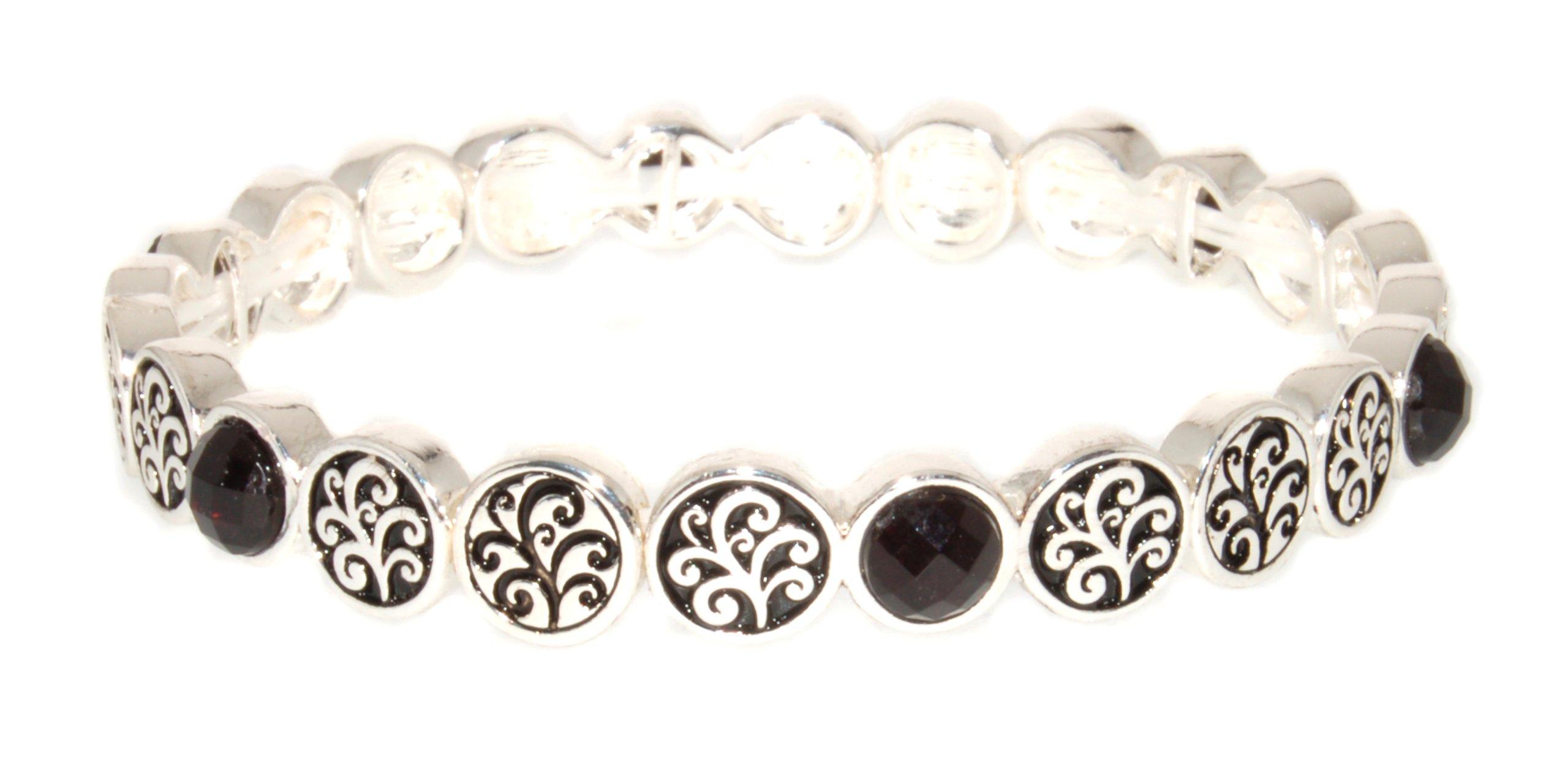 Landau Stretch Bracelet with Scroll Discs and Black Stones, Silvertone