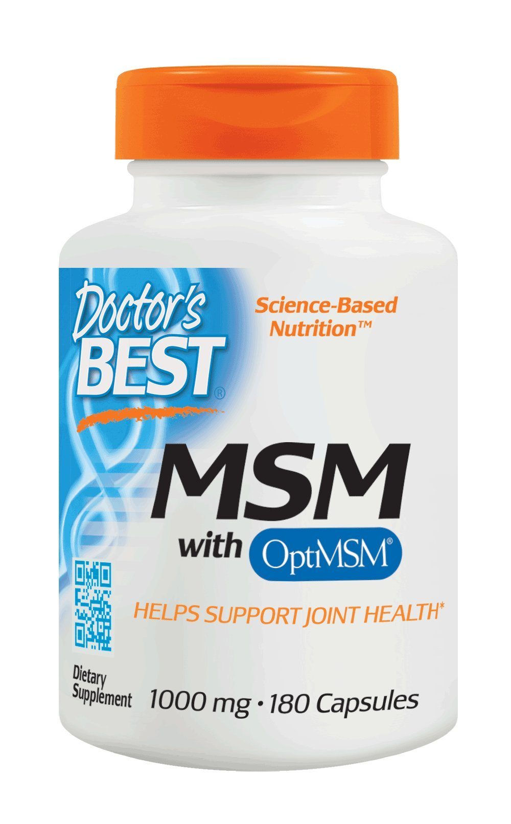 Doctor's Best MSM with OptiMSM, Non-GMO, Gluten Free, Joint Support, 1000 mg, 180 Caps