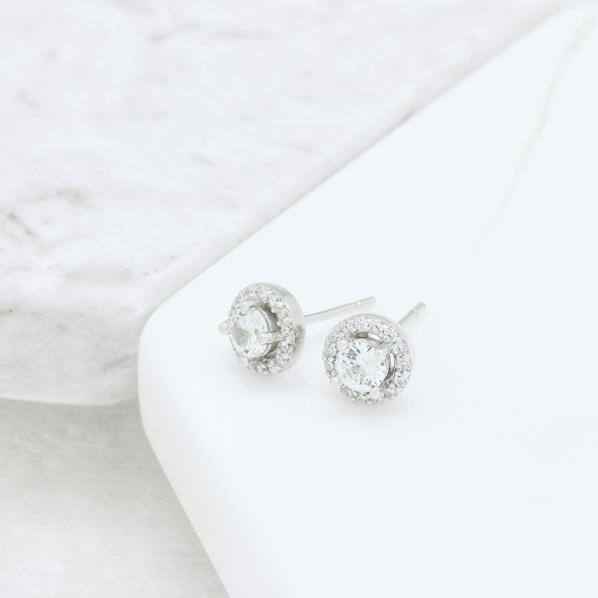 Spoil Cupid Rhodium-Plated Sterling Silver Cubic Zirconia Halo Stud Earrings, Center Stone 4mm