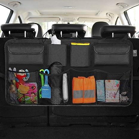 Kofferraum Auto Tasche Sitzbank Organizer schwarz für 2 Getränke 6 Innenfächer