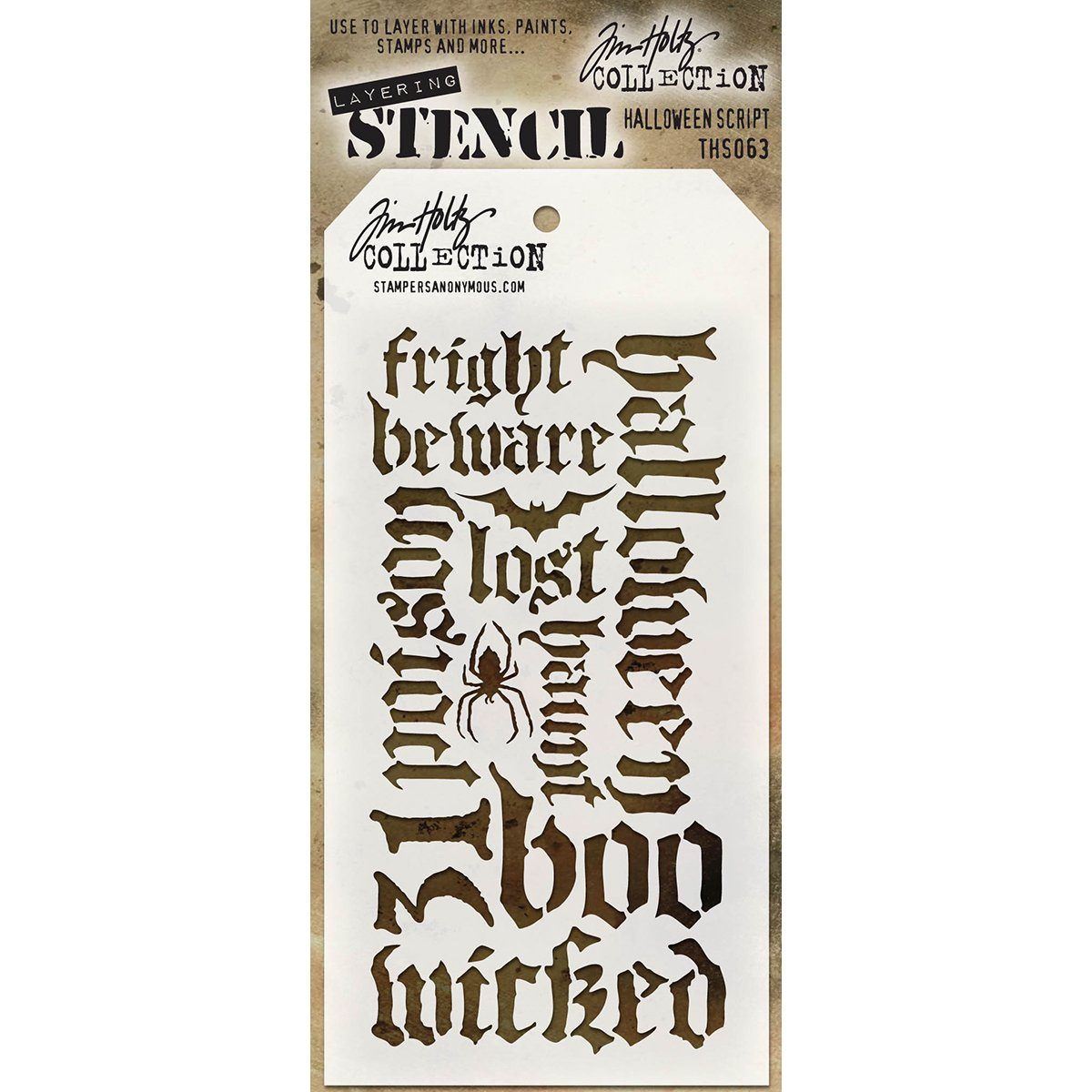 Tim Holtz Layered Stencil 4.125X8.5-Halloween Script Stampers Anonymous THS063