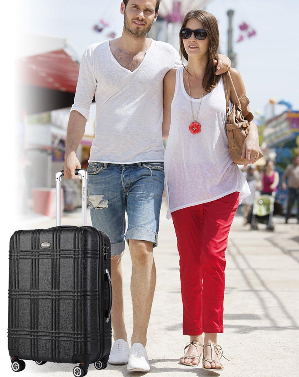 Expandable Spinner Luggage Set,TSA lightweight Hardside Luggage Sets, 20'' 24''28 inches Luggage (BLACK-1, 20 inches) by Travel Joy (Image #8)