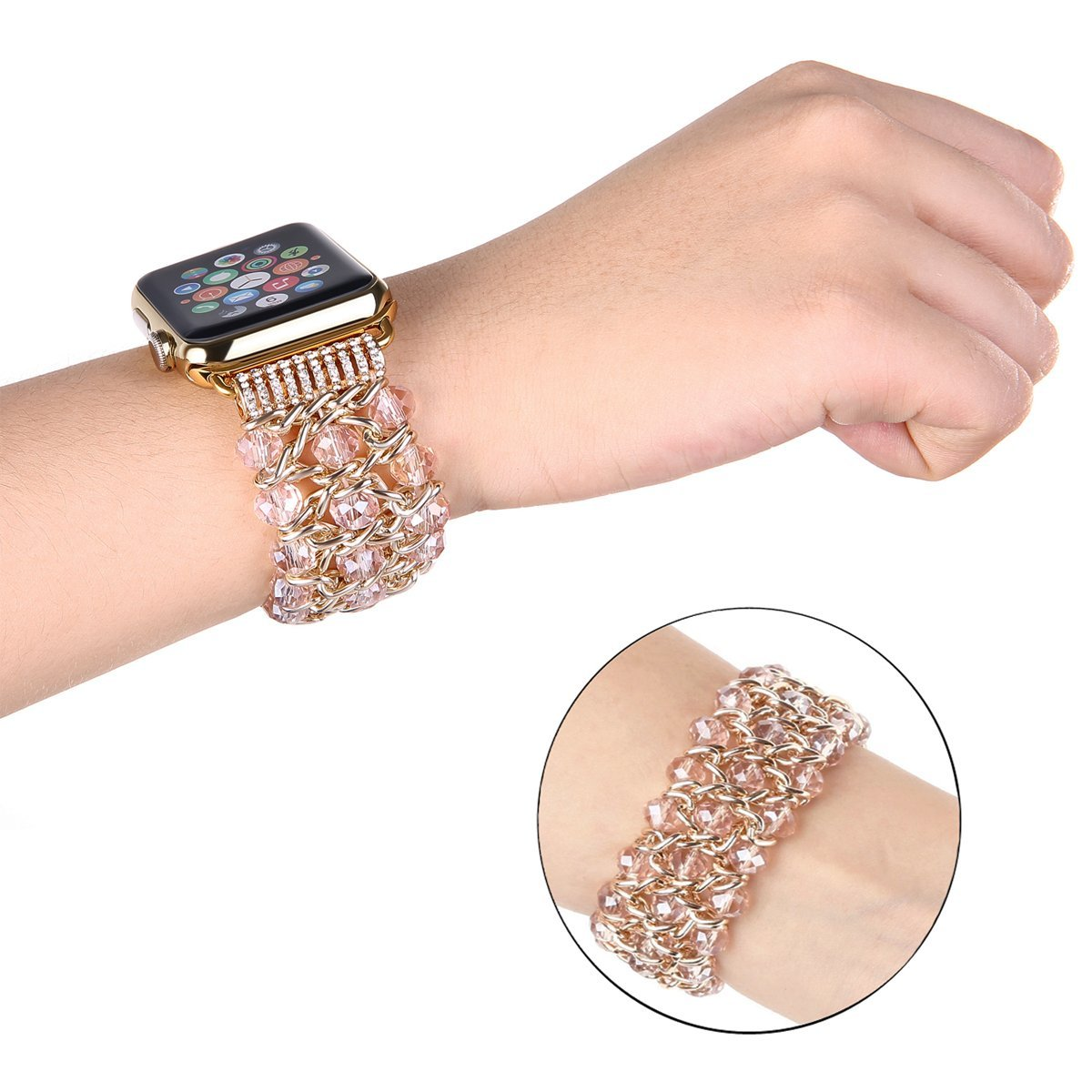Censha Compatible with Apple Watch Band 42mm 38mm, Women Fashion Handmade Elastic Stretch Crystal Beaded Bracelet Metal Chain Replacement Strap for iWatch Series 3/2/1 (Pink 38mm)