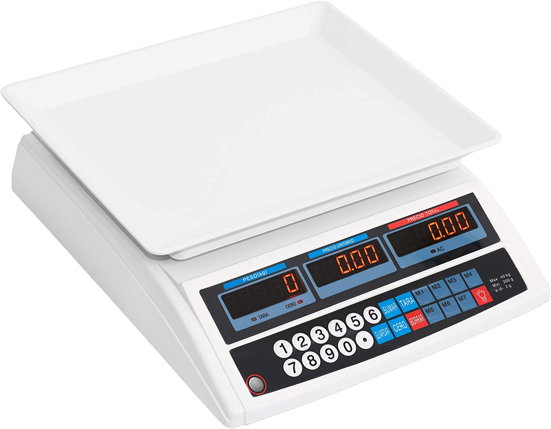 JEVX Bascula Comercial de 40kg 2 EN 1 con BATERIA Recargable y Enchufe 220V Precision 2 a 2 Gramos para Alimentos Fruteria Comercio Balanza hasta 40 Kilos Peso Digital Industrial